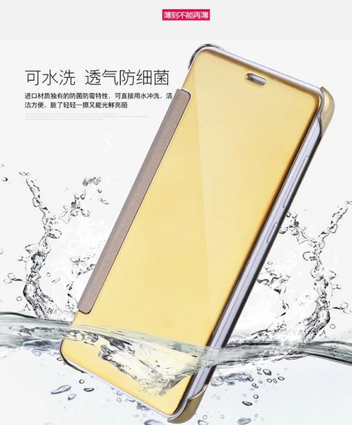 Mirror Electroplate Wallet Case Pouch For Samsung Galaxy J5 J7 Xiaomi Hongmi Redmi Note3 Note 3 Smart Touch View Sleep Skin Cover Packaging