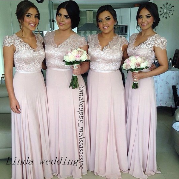Free Shipping Blush Pink Bridesmaid Dresses 2016 New V Neck Chiffon Lace Long Maid of Honor Dress Wedding Party Gown