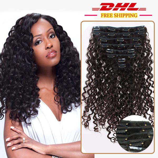 Tiefe lockige Afroamerikaner Remy Clip in Haarverlängerung Clip in Haarverlängerung 100 Echtes schwarzes Haar 9Pcs 100g / set