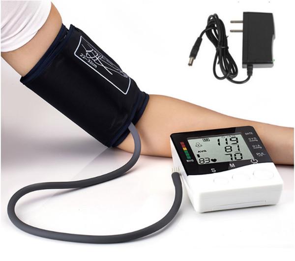 Автоматическая рука Стиль Монитор артериального давления с сетевой штекер Плечи Сфигмоманометр ЖК-дисплей Медицинские приборы техника