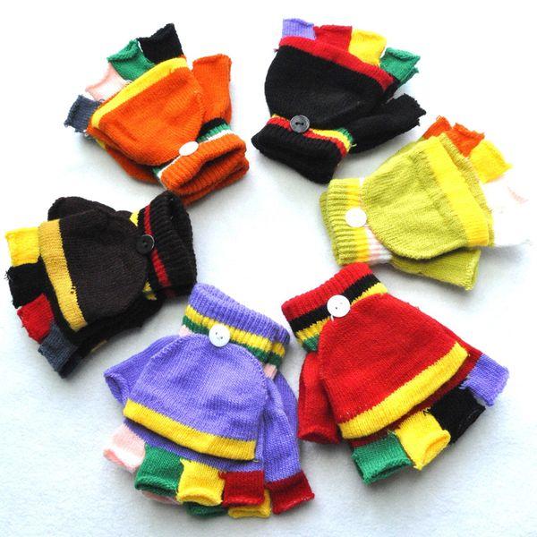 5-15Years New Addensate Neonati caldi Neonati Ragazze Guanti caldi invernali Patchwork neonato Guanti colorati Bambini Guanti mezze dita in maglia