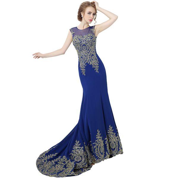 Cheap Hot Sale Long Chiffon Tank Mermaid Evening Dresses Robe De Soiree Gold Lace Ribbon Prom Party Dresses Real Photo XU039