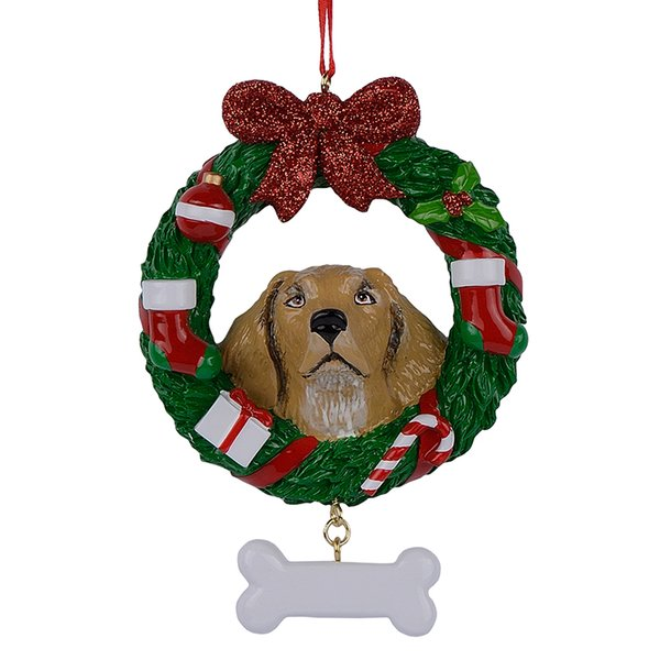 Yellow Labrador Retriever Resin Shiny Christmas Ornament with Wreath Hand Painted and Easily Personalized for gift or home decor
