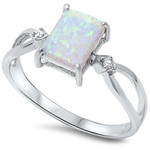 top popular Size 4-12 925 Sterling Silver Princess Cut Australian Fire Opal Ring Wedding Engagement Propose Cocktail Promise Mother Birthday Gifts 2019