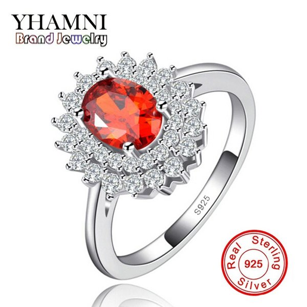 YHAMNI Original Rings for Women Have S925 Stamp Real 925 Sterling Silver 1.5 Carat Ruby Diamond Wedding Ring Wholesale R021