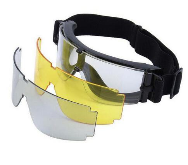 Marca Goggles-2016 Sinairsoft USMC Airsoft x800 Tactical Cycling Eyewear SunGlasses Juegos de guerra Goggles Espejos resistentes al viento GX1000 Black 3 Lens
