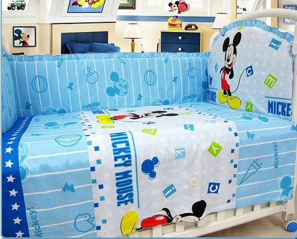 Promotion! 6PCS Baby crib bedding set 100% cotton cot baby bedclothes (bumpers+sheet+pillow cover)