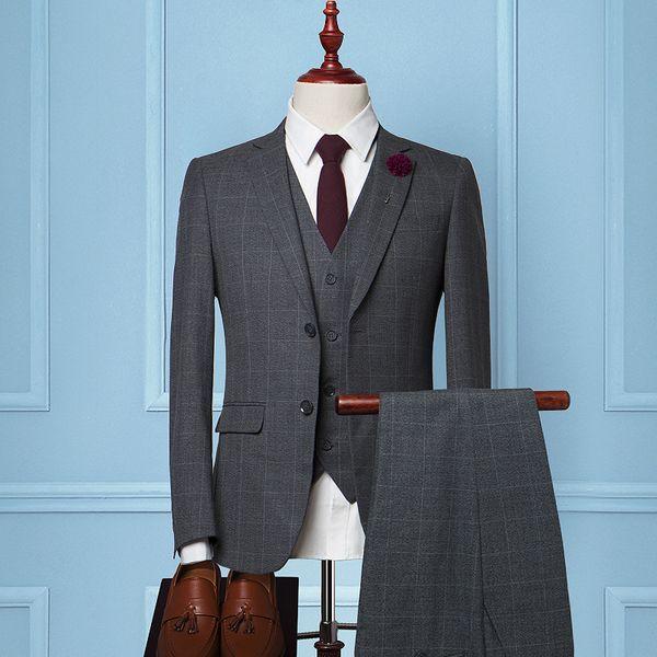 New Design Men Suit Classic Grey Plaid Tuxedo Wedding Suits For Men ...
