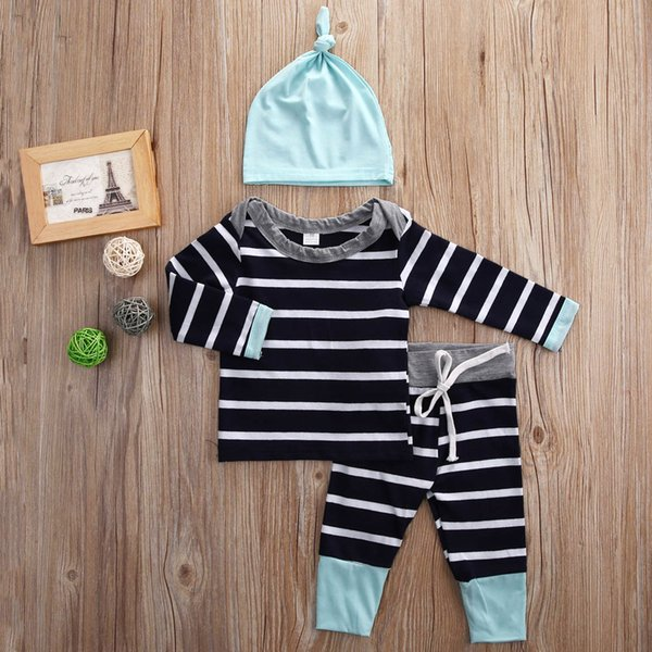 2016 baby suits 3PCS Newborn Kids Boys Girls cotton striped T-shirt Tops & Pants+Hat casual Clothes good quality boy girl cool Outfits Sets