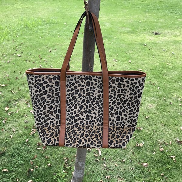 (short fur)Wholesale Blanks Leopard Fashion Tote Bag with PU Faux Leather Handles Cheetah Women Handbag DOM103664