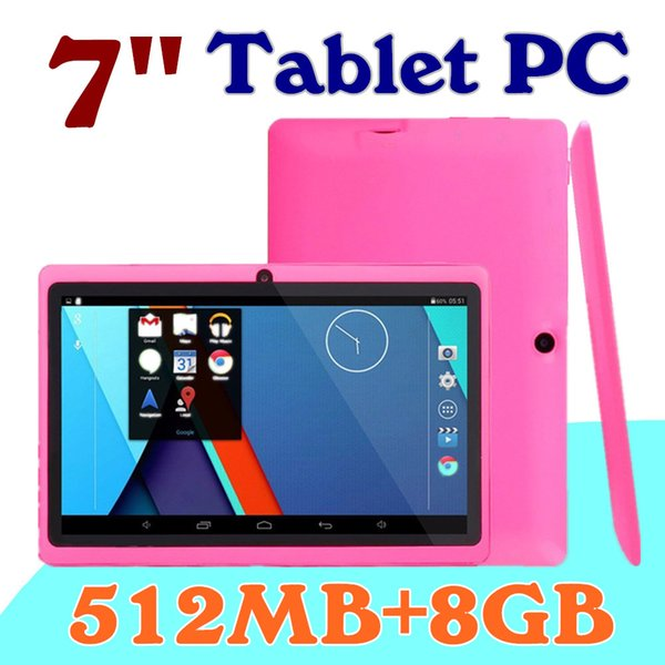 """top popular 10 DHL 2016 7"""" inch Capacitive Allwinner A33 Quad Core Android 4.4 dual camera Tablet PC 8GB ROM 512MB RAM WiFi EPAD Youtube Facebook A-7PB 2019"""