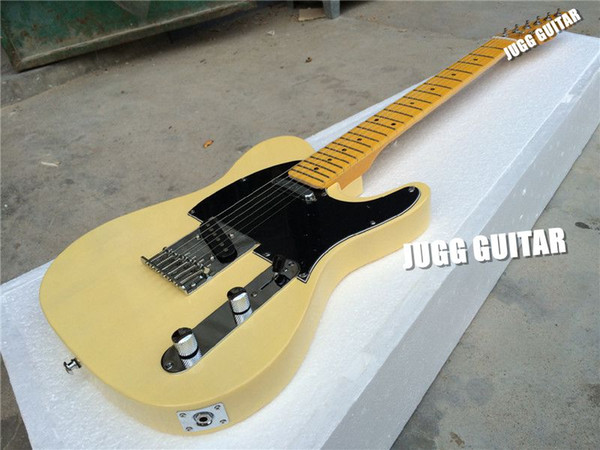 Custom Shop Deluxe Tele TL Cream Vintage White Used Esquire Blonde Electric Guitar Free Shipping String Thru Body Black Pickguard