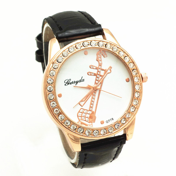 Free shipping!PVC leather belt,gold plate alloy case,rhinestone circle case,music instrument UP dial,gerryda fashion woman lady quartz watch