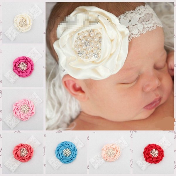 2015 New Flower Design Headband Baby Girl Headbands Solid Color Children Hair Bow Elastic Infant Kids Hairband 10ps /Lot