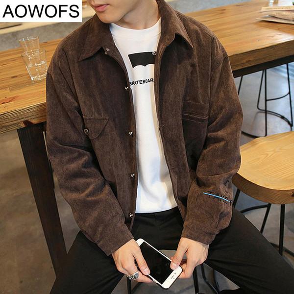 Wholesale- Japanese Style New Men's Jacket Spring/autumn Fashion Corduroy Embroidery Jacket Mens Baseball Coat Korean Plus Size 4XL