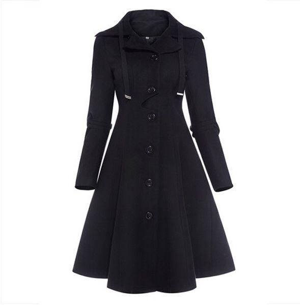 Großhandel Mittelalterliche Weibliche 2017 Winter Vintage Trenchcoat Mode Elegante Mantel Lange Schwarz Mujer Frauen Gothic Stehkragen LpqUVGSMz
