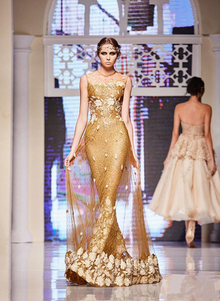 Elie Saab Goldkleider Abendgarderobe Pailletten Mermaid Sheer Jewel Ausschnitt Party Abendkleider 3D floral bodenlangen Abendkleid