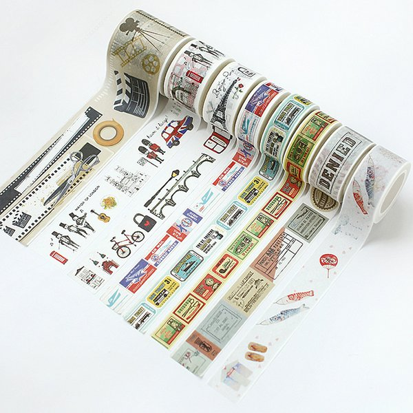 best selling 10 Patterns 2016 Vintage Washi Tape Adhesive Tape for DIY Scrapbooking Novel Life Memory Stickers Paper Card Decoration Travel Diary