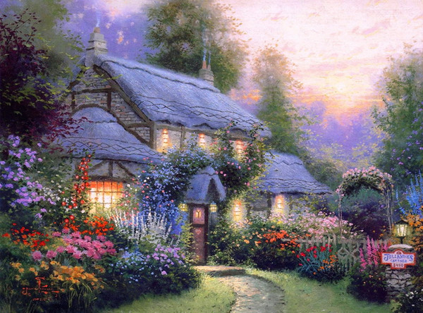 Thomas Kinkade Landscape Oil Painting Reproduction High Quality Giclee Print on Canvas Modern Home Art Decor TK001