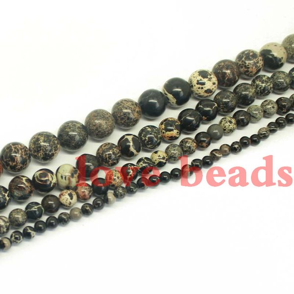 "natural stone black sea sediment jasper round loose beads 4.6.8.10mm strand 15"" for making diy bracelet -f00263 jewelry making"