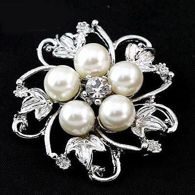 Monili di modo dell'annata nobile argento lega di cristallo strass perla spilla spille pin bouquet da sposa fiore regalo di nozze per le donne 60pcs
