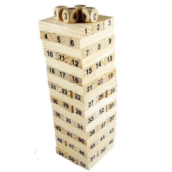 Baby Toys Family Game Wooden 54Pcs Blocks+4Pcs Dice Tumbling Stacking Tower Digital Building Blocks Popular Game Education Gift