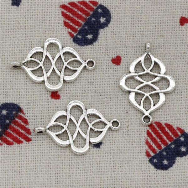 76 stücke Charme link stecker 28 * 18mm Antike Silber Anhänger Zink-legierung Schmuck DIY Handgemachte Armband Halskette Fitting