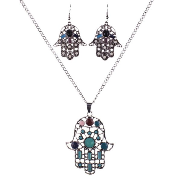 MS1504520 Fashion Hamsa hand Jewelry Sets Multicolor Necklace Sets Crystal Resin Hamsahand Necklace Earring Set