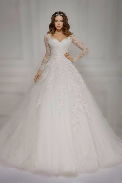 2018 desiginer long sleeves wed dress lace jacket Tulle Country Wedding Dresses with sweetheart neckline Bridal Gown Bride dresses