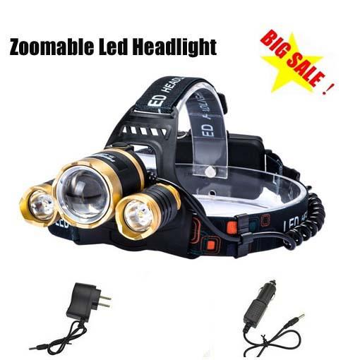 Boruit Gold Head 5000LM CREE XML T6 Zoomable Headlamp Head Torch Flashlight Rechargeable Led Headlight Outdoor +2xCharger