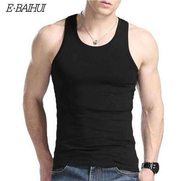 Wholesale-E-BAIHUI men Tank Tops Men Bodybuilding Clothing Fitness Mens Sleeveless Shirt Sports Vests Cotton Singlets Muscle Tops B001