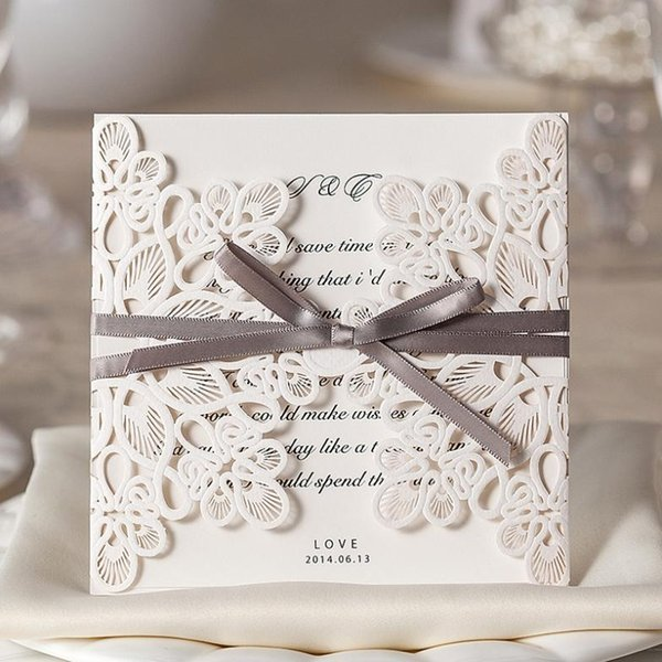 best selling 2020 Wholesale Laser Cut Wedding Invitations Elegant Wedding Invitations Ribbon Invitation Cards With Free Shipping