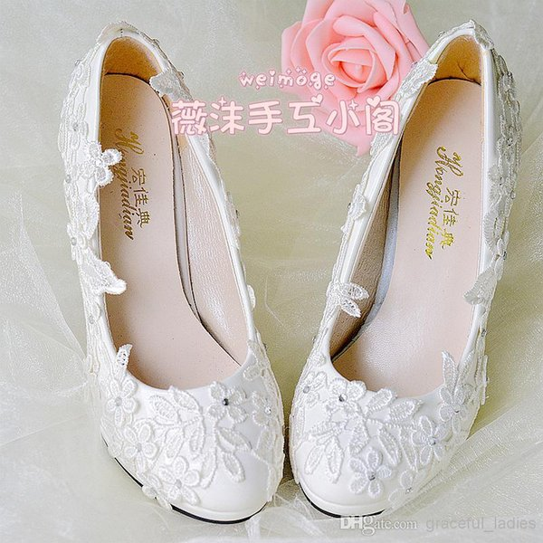white lace wedding shoes handmade appliques flat heel 45cm 8cm heel low heel bridal shoes