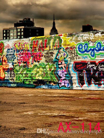 Graffiti Wall Backgrounds for Photo Studio Props Wallpaper 5X7ft Vinyl Cloth Wedding Children Photography Backdrops