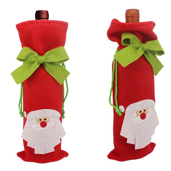 2016 New arrival Santa Claus wine bottle packingbag, Unique design Christmas supplies, Tree gift box deer wine bottle cover