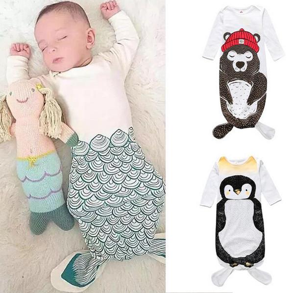 top popular Ins Infant Baby Sleep Bag Sleepwear Clothes Kids Pajamas Toddler Baby Cartoon Animals Printed Sleeping Bag Children Clothing W081 2021