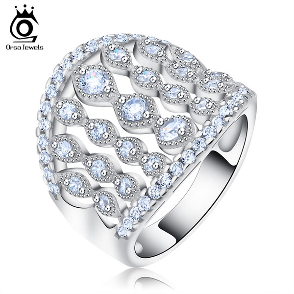 ORSA Fashion Hollow Women Ring Wide Band Clear Cubic Zircon Paved Luxury Finger Rings Lady Jewelry Accessories OR88