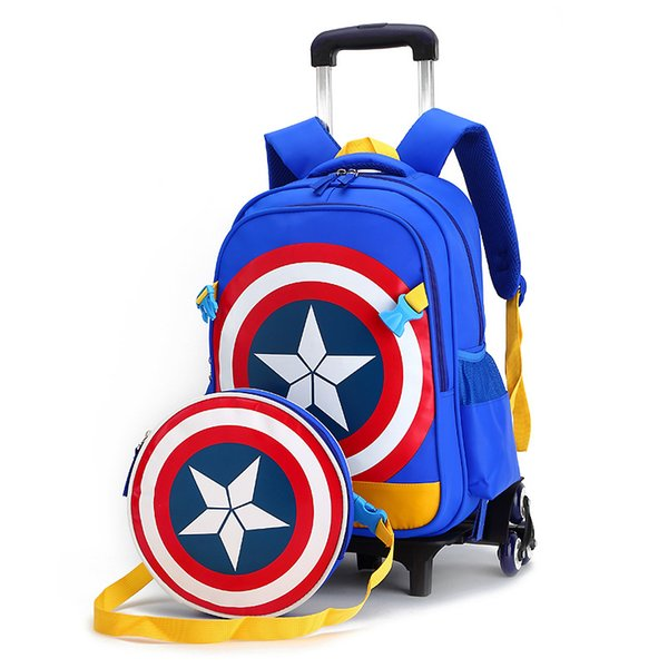 Children trolley/2- 6 wheels elementary school/student/books bag backpack/rucksack boy girls grade/class 1-4 with Shoulder bags