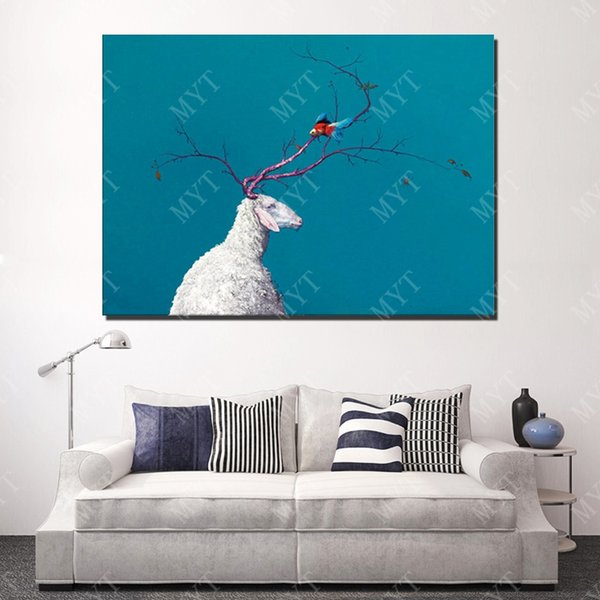 New Design Hand Made Abstract Deer Oil Painting On Canvas Animal Oil Painting Modern Canvas Wall Art Sitting Room Decor Picture