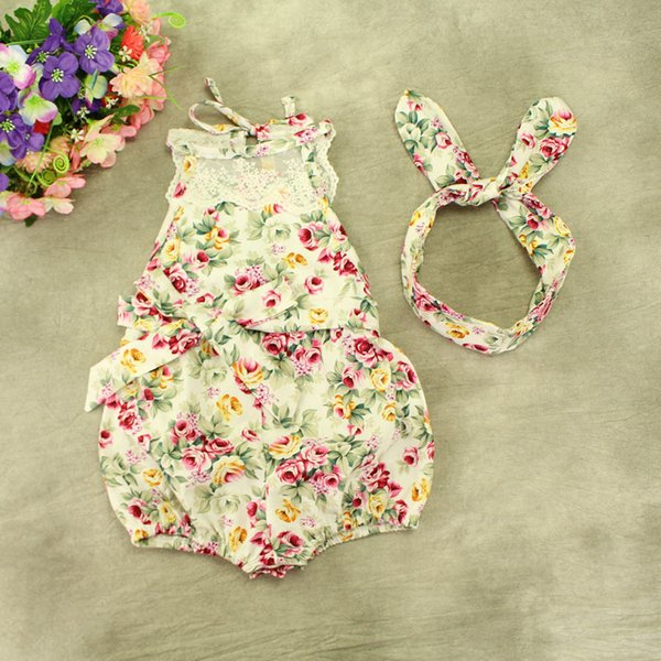 9adefe1f955 INS baby girl toddler Summer clothes 2piece set outfits lace floral romper  onesie bloomers diaper covers playsuits Rose + bunny ear headwrap