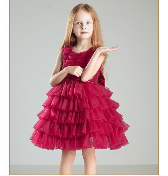 Elegant Red Sequin Bow Belt Chiffon Baptism Christening Gown,Flowers Girls Dresses Big Bow Princess Tutu Birthday Dresses For Wedding