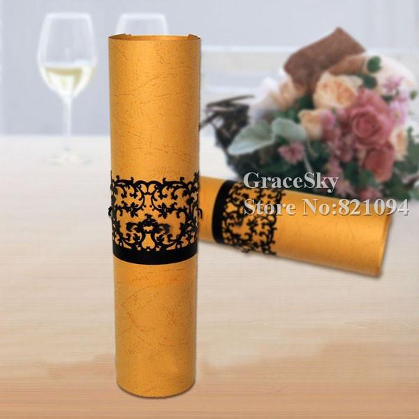 50Pcs/lot Free Shipping Laser Cutting Lace Flowrers Vine Design Paper Napkin Ring for Wedding Birthday Business Party Table Towel Decoration
