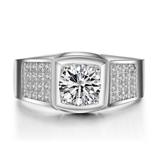 ZNM Luxury Men Ring 1.25 Ct Creada en laboratorio SONA Anillo simulado de diamantes simulado para hombres Anillo de plata esterlina 925 Plateado Platino Joyas