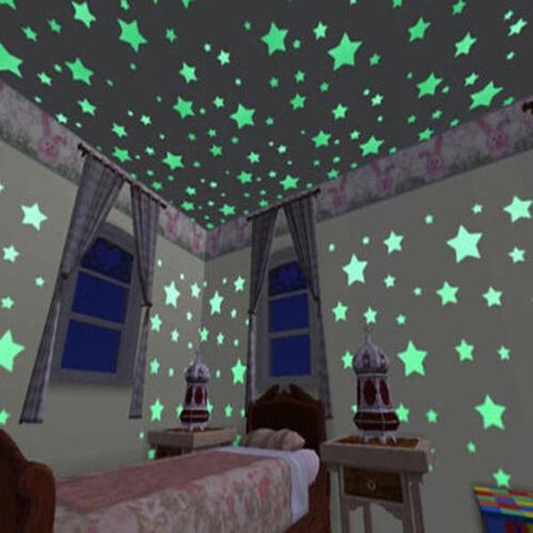 100 adet Duvar Çıkartmaları Çıkartması Glow Karanlık Bebek Çocuk Yatak Odası Ev Dekor Renk Yıldız Işıltılı Floresan Duvar Sticker ...