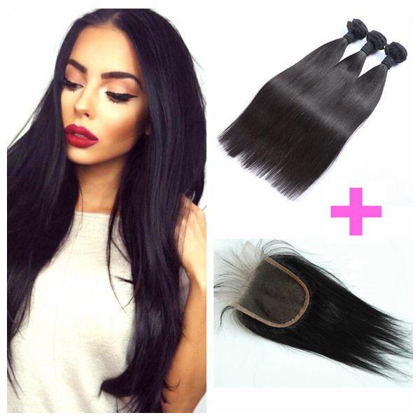 8-30inch peruanische gerades Haar-Spitze-Schließung mit 3 Bundles Menschenhaar-Webart kann gefärbt werden DHL-FREIES LaurieJ Haar