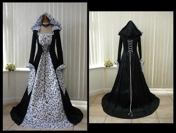 New Designer White and Black Gothic Wedding Dresses with Hat Embroidery Long Sleeve A Line Bridal Gowns 2017 vestido de novia