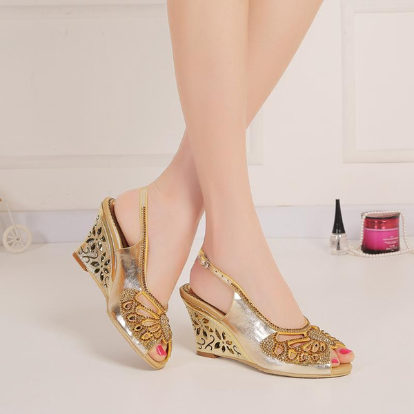 Gold Rhinestones Wedge Wedding Shoes Cut-out Sandals For Brides High Heel Slingback 8cm Chunky Heel Crystals Shoes Women Peep Toe Slip-ons