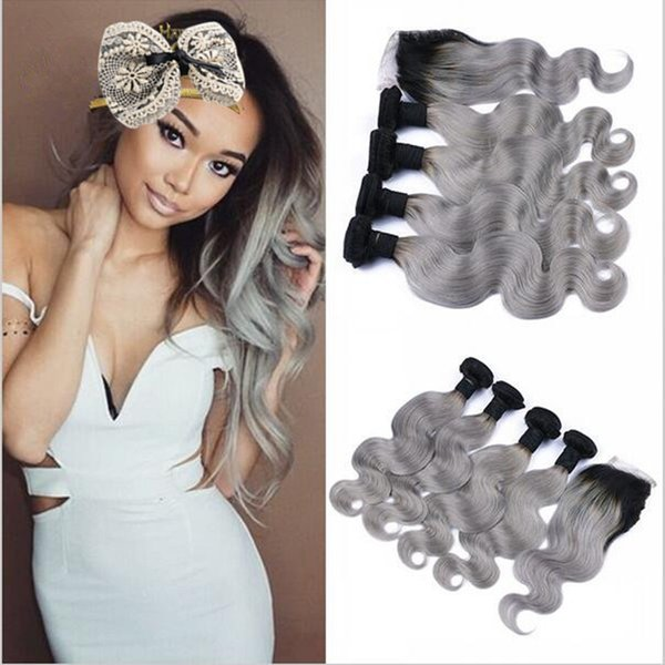 8A Ombre Brazilian body wave grey hair weave 4pcs with closure grey dark root ombre hair extensions with closure 1b/grey human hair