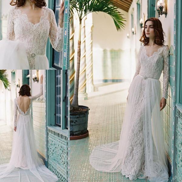 Vintage Long Sleeve Wedding Dresses Lace V Neck Backless Bridal ...