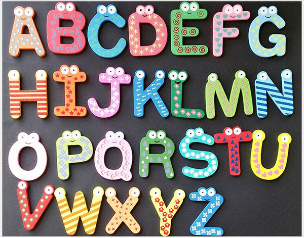 top popular Magnet Education Learning Toys Wooden 26 Alphabet Letters Decor Cartoon Words Wood Crafts Home Refrigerator Decorations Kids Children Gifts 2019